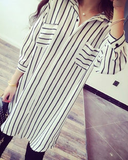 Women Central Shirtdress in White and Black Stripe Blouse