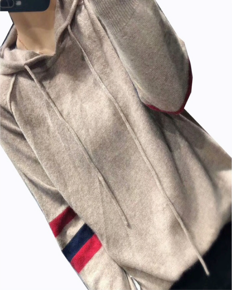 Women's Knit Lightweight Classic Pullover Long Sleeve Cashmere Sweater Hoodie Tops