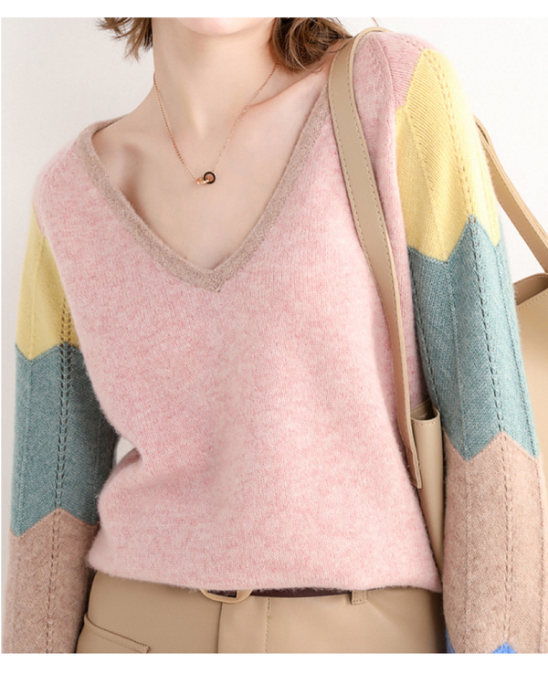 Women V neck Long Sleeve Knit Pullover Wool Sweater Top