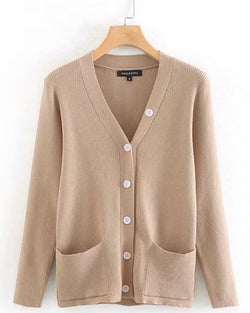 Women's Long Sleeve Button Down Classic Sweater Knitted Cardigan
