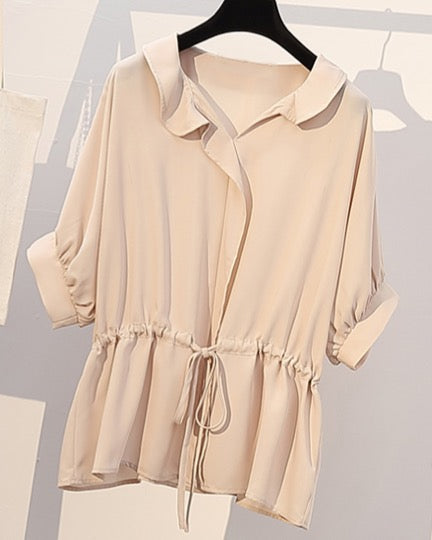 Women's Oversize Casual Short Sleeve Blouse Top