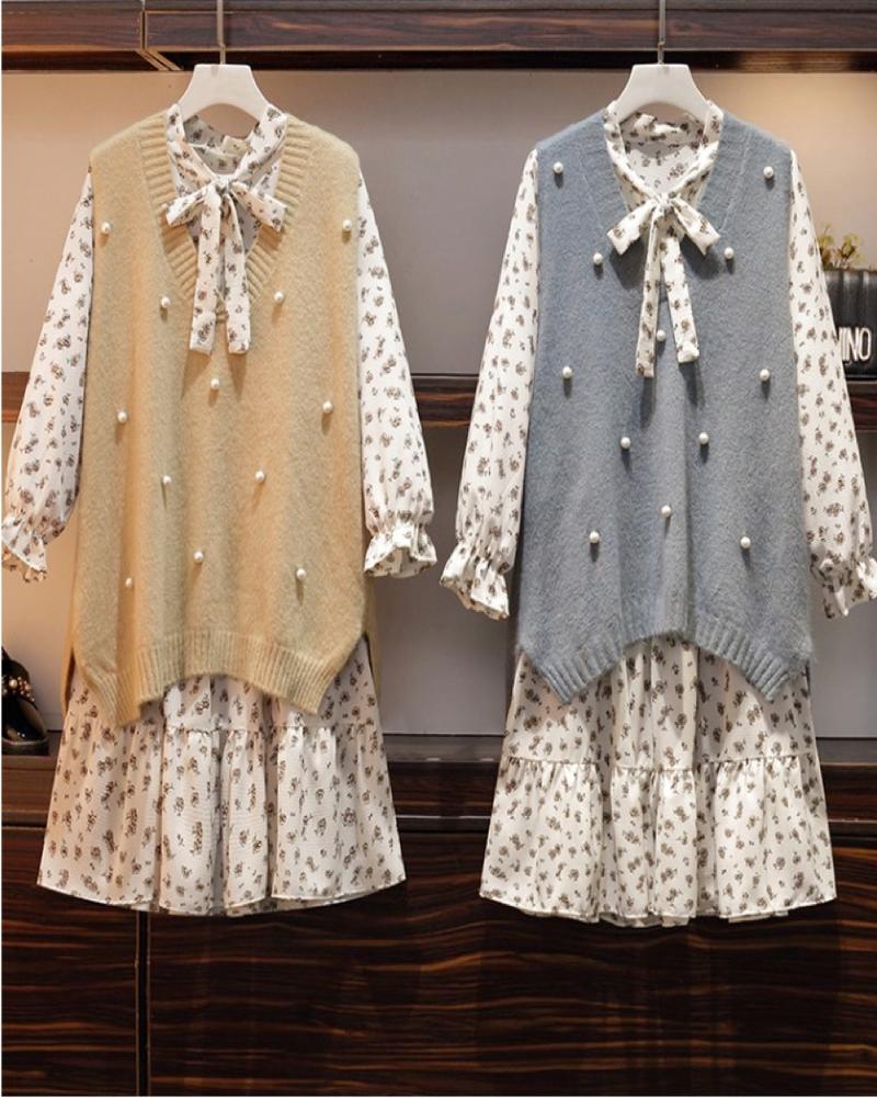 Women Knitted Vest with Pearl and Long Sleeve Dress 2 Pieces Set