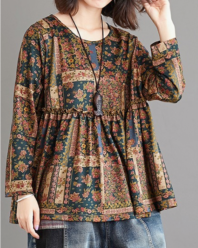 Women's Pullover Shirts Long Sleeve Cotton/Linen Flower Blouse Casual Tunic Tops