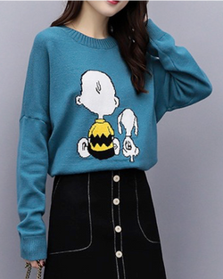 Women Long Sleeve Crew Neck Pullovers Fashion Knitted Sweaters