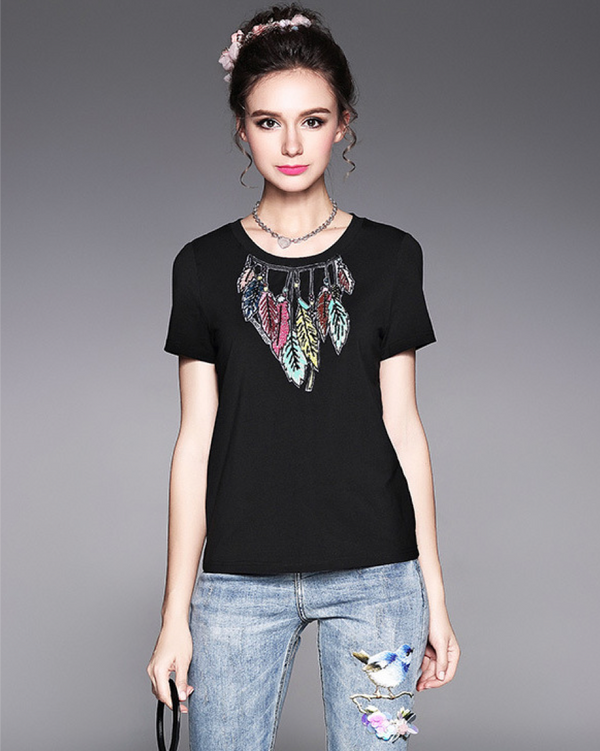Women/Teenage Girl Short Sleeve Cotton Top Tees Handmade Leaves T-shirt