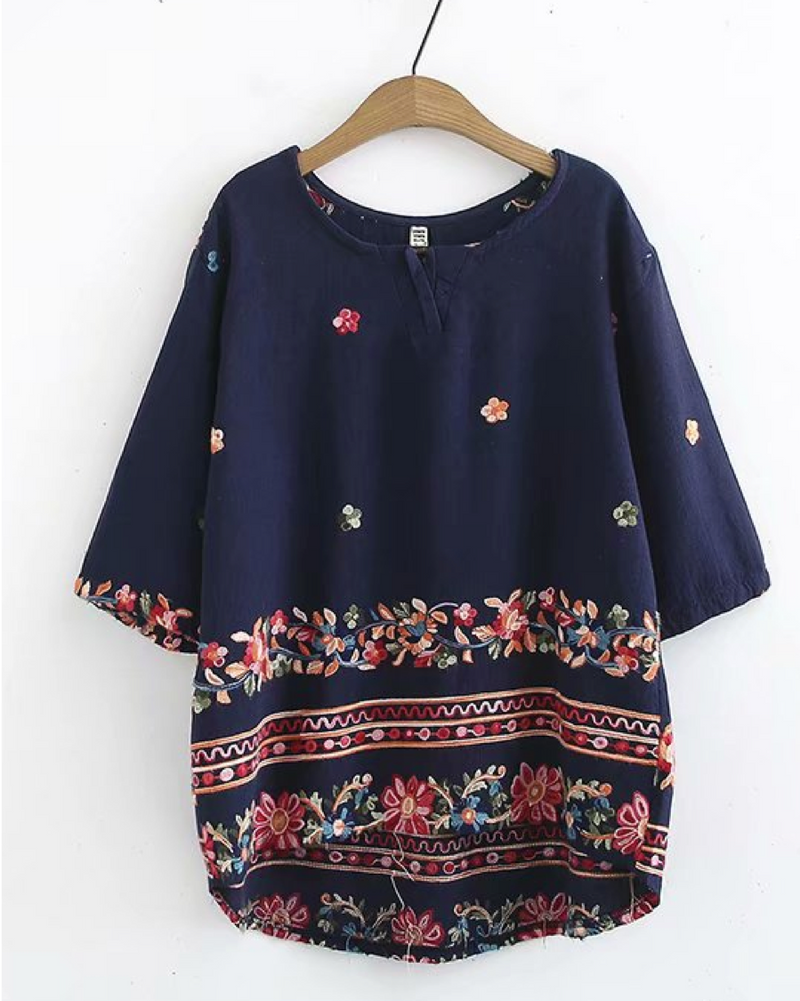 Vintage Women's Pullover Shirts Short Sleeve Cotton/Linen Flower Blouse Casual Tops Clothing