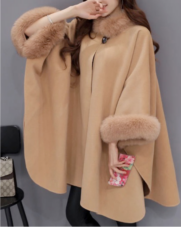 Women Faux Fur Coat Cloak Batwing Poncho Bridle Cape Open Front Warm Jacket Outwear