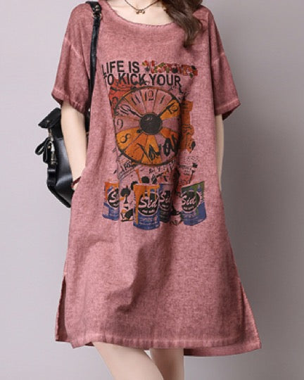Women's Casual Simple Tees Cotton Linen Tunic T-Shirt Loose Short Sleeve Dress