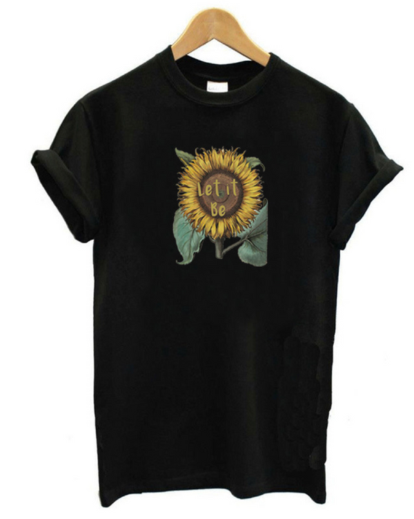 Women Summer Casual Short Sleeve Sunflower Top Tees T-shirt