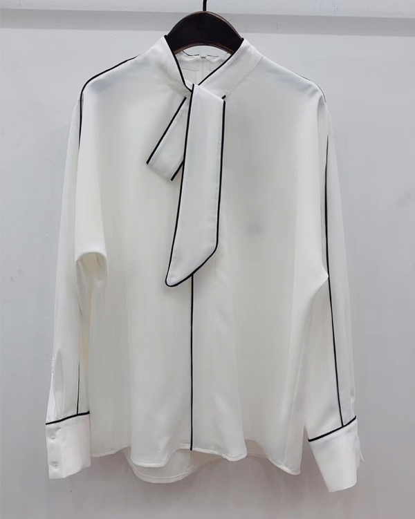 Women silk-feel Soft Blouse with Ribbon Belt Long Sleeve Top Shirt Summer / Spring Clothing