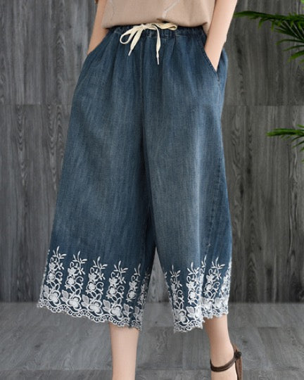 Women Casual Cropped Pants Loose Lace Floral Wide Leg Jeans