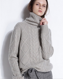 Women Turtleneck Long Sleeve Knit Pullover Wool Sweater Top