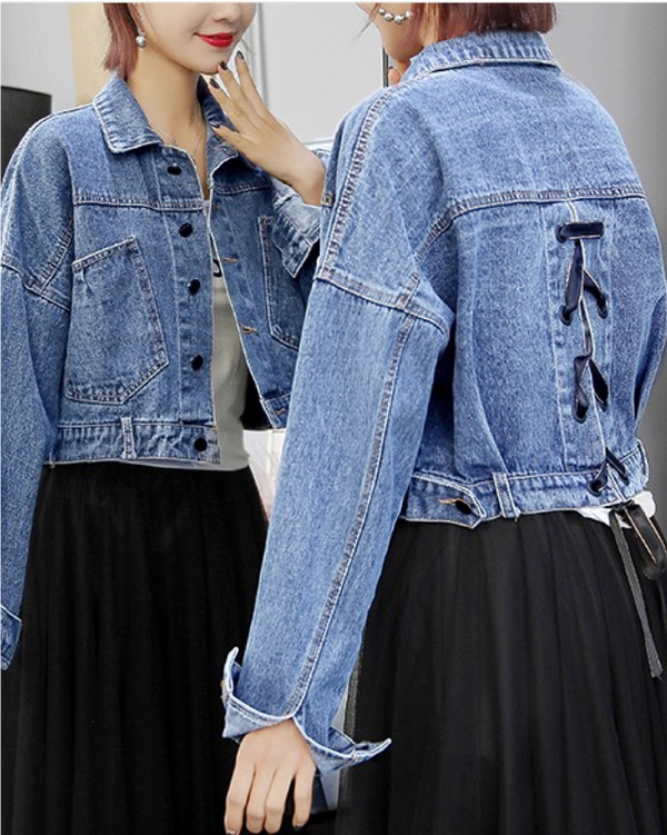 Loose Women's Denim Jackets Blue Jean Jackets with Long Sleeve