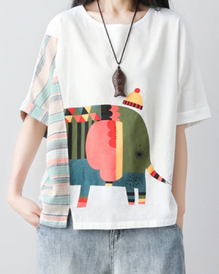 Women's Short Sleeves T-Shirt Casual Tees Basic Cotton Linen Tops Elephant Design