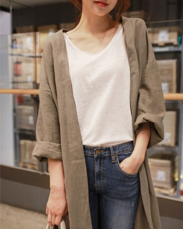 Women Long Sleeve Open Front Cotton Linen Cardigan Casual Loose Fit Top