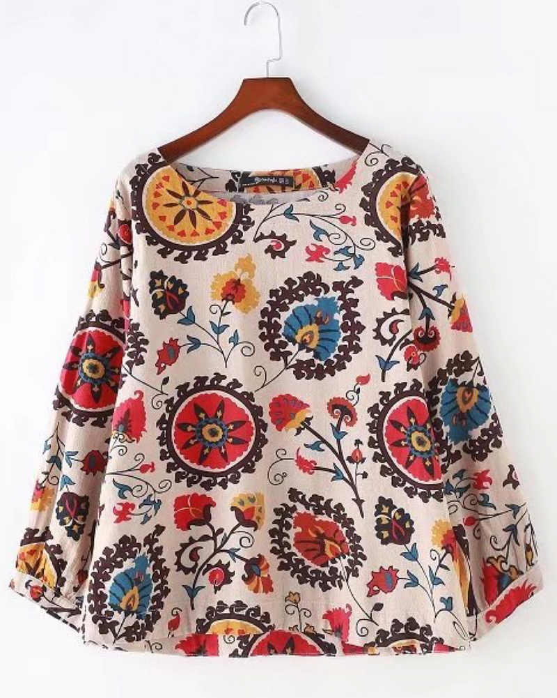 Women's Pullover Shirts Long Sleeve Cotton/Linen Flower Blouse Roll Up Casual Tops