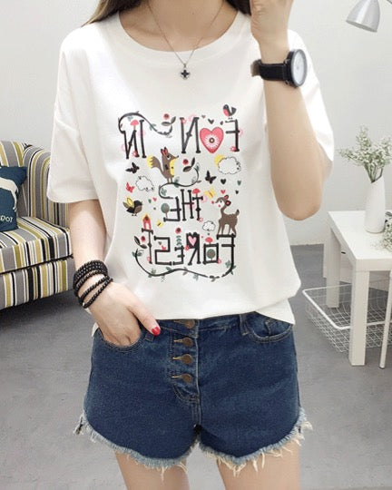 Women Cotton T-shirt Fashion Design Short Sleeve Blouse