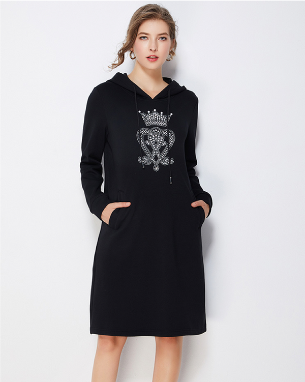 Women Loose Warm Tunic  Pocket Pullover Hoodie Dress Long Sweatshirt Fleece Outwear