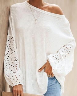 Women's Casual Long Sleeve Blouse Round Neck Solid Top Tee Spring / Fall Clothing