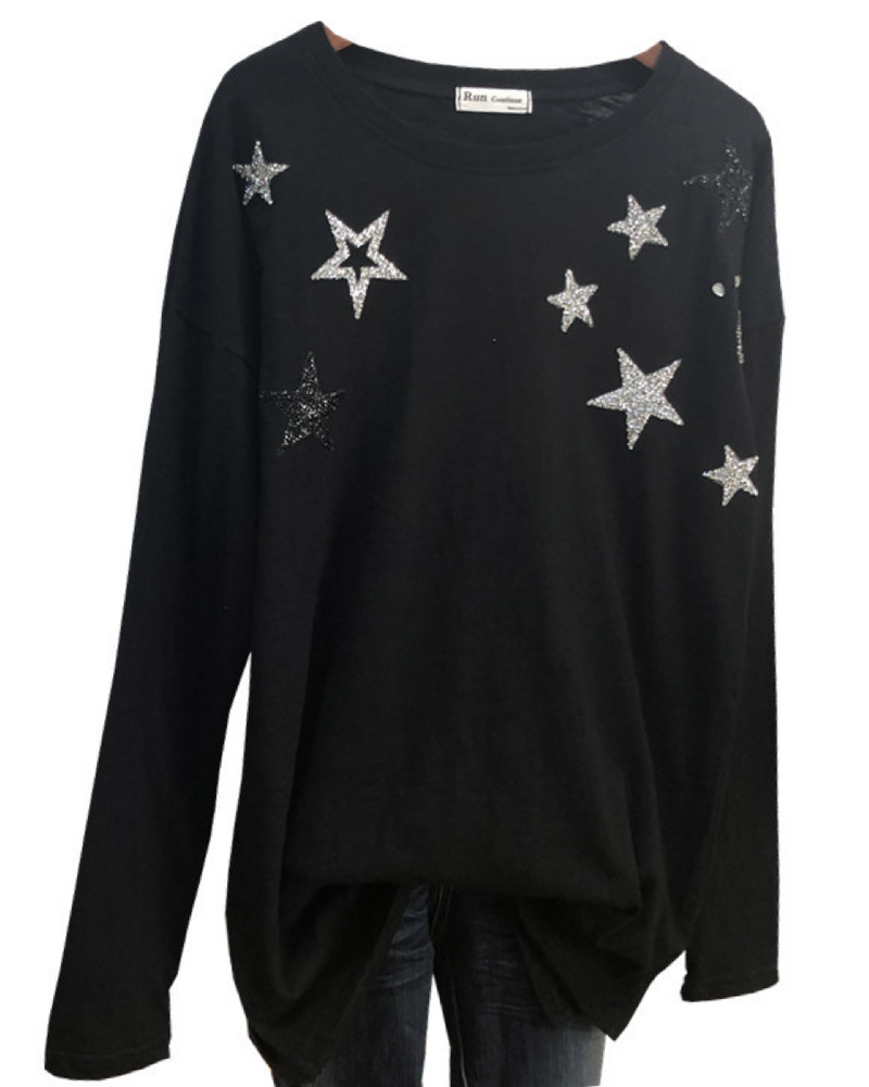 Women's Long Sleeve Round Neck Casual Loose T-Shirts Shinning Star Top Tees
