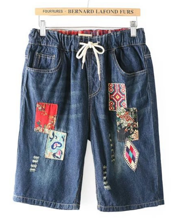 Women Teenage Girl Denim Shorts Mid Rise Jean Shorts Hem Comfy Pull-on with Elastic Waist