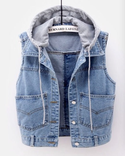 Women Fashion Sleeveless Button Up Jean Denim Jacket Vest With Hood