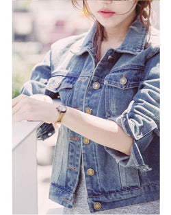 Women Classic Simple Beauty Denim Jean Jacket Coat