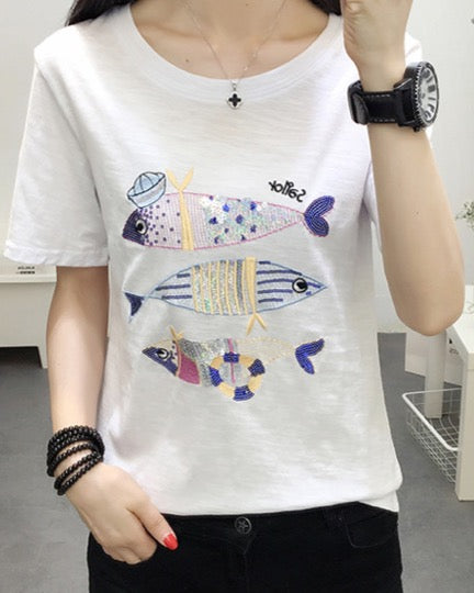 Women Round Neck Tees Cotton Short Sleeve T-Shirt Tops