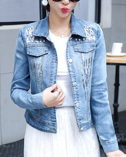 Women Jean Denim Jacket Shining Silver Sequin Embroidered Coat