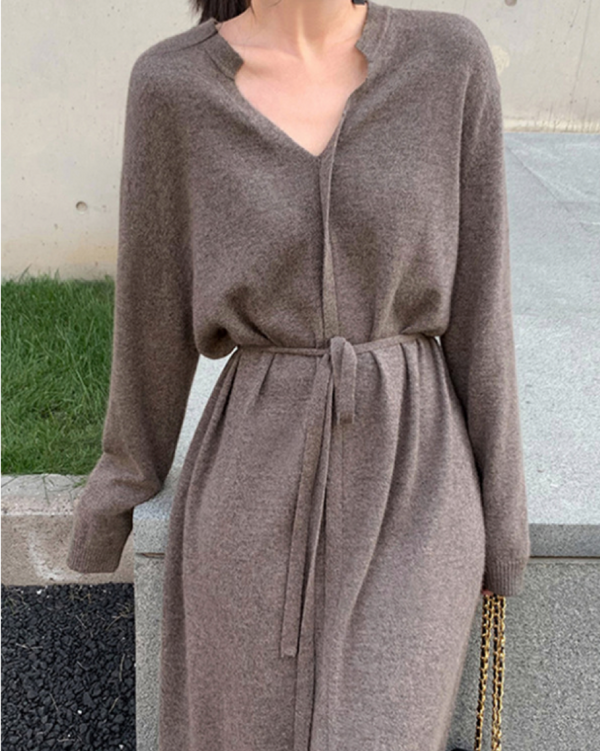 Women V Neck Knit Stretchable Elasticity Long Sleeve Cotton Sweater Dress with Belt