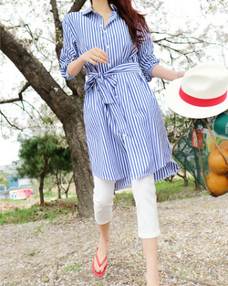 Women's Long Sleeve Shirt Dress with Belt Casual Loose Striped Tops