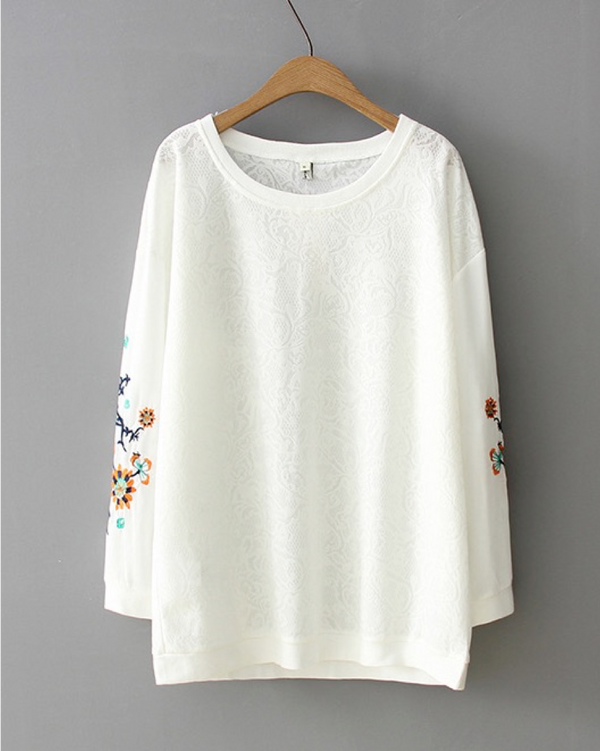 Women Long Sleeve Cotton Handcrafted Flower Blouse Casual Pullover Top