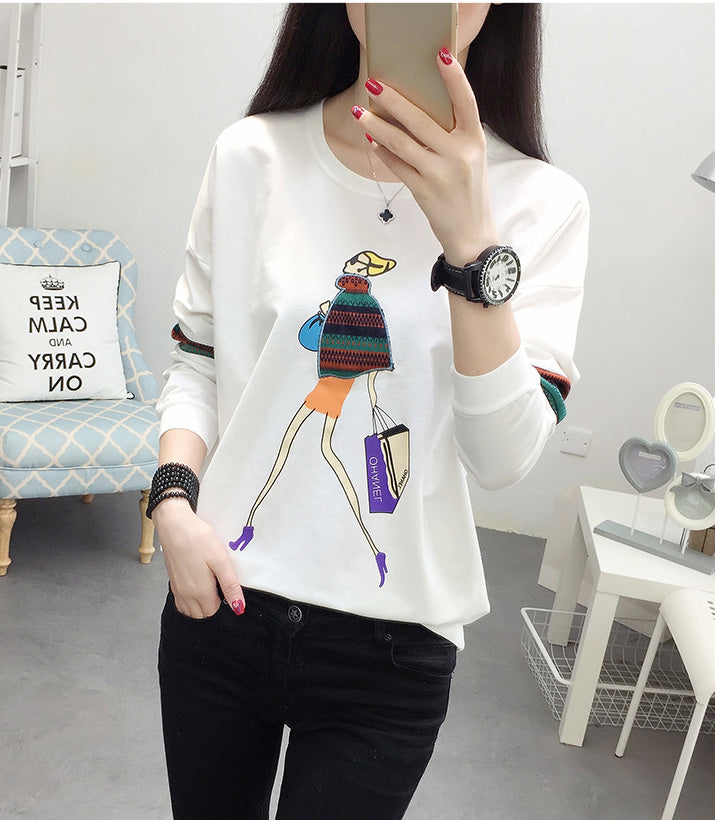 Women's Casual Long Sleeve Round Neck Loose T Shirt Blouse Fashion Design Tops