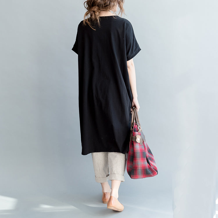Women's Daily Lived-in Cotton Tunic Tees Crewneck T-Shirt Dress
