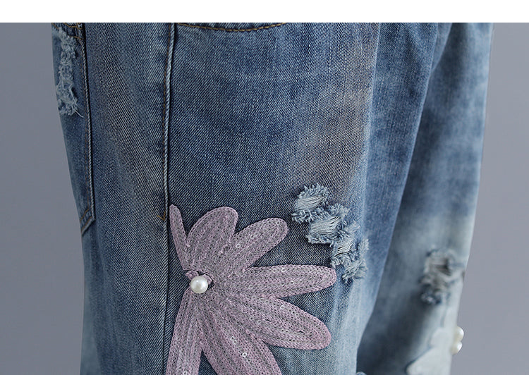 Relax Handmade Flower With Pearl Beads Women's Denim Jeans Pants