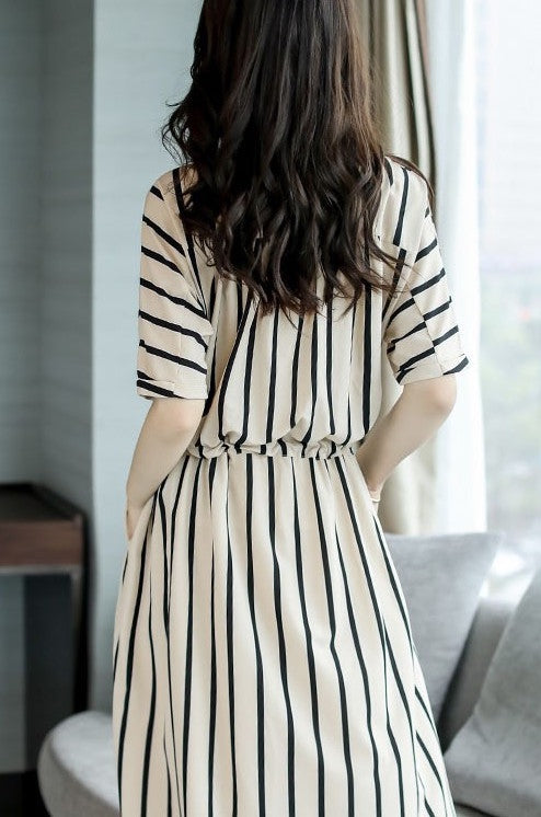 Women's Short Sleeve Striped Dress with Pockets
