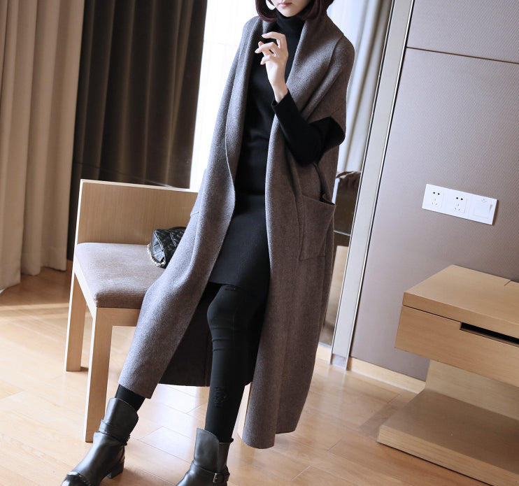 Women's Casual Sleeveless/Short Sleeve Open Front Long Cardigan Sweater Vest with Pockets