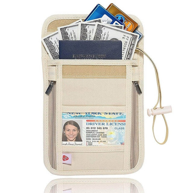 Nylon Anti-Theft Travel Neck Wallet