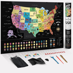 Deluxe Scratch Off USA Bucket List Map - 4PACK