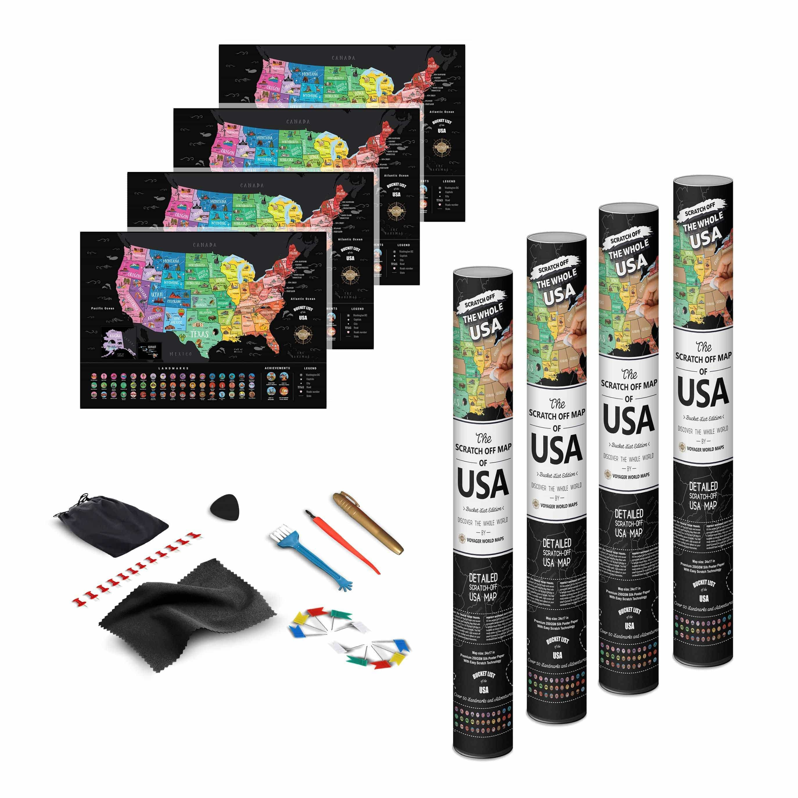 Deluxe Scratch Off USA Bucket List Map - 3PACK