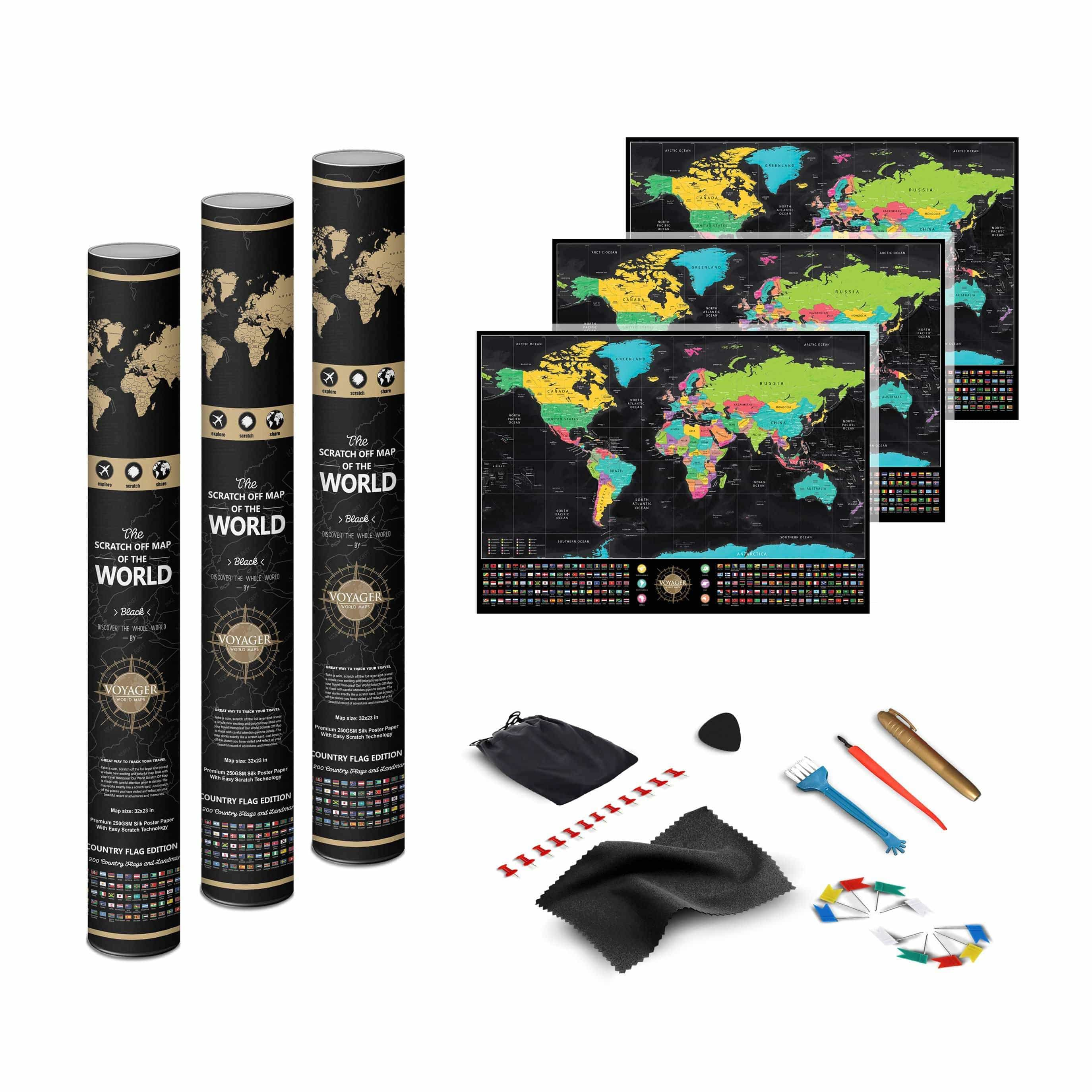 Voyager Deluxe Scratch-Off World Map - 2PACK