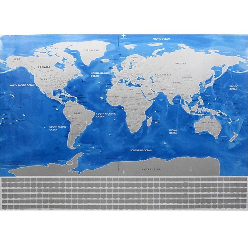 Deluxe Scratch-Off World Map - Country Flag Edition (Silver Foil)