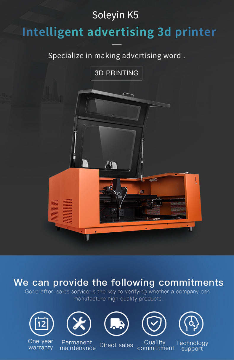 K5 advertising word 3D printer