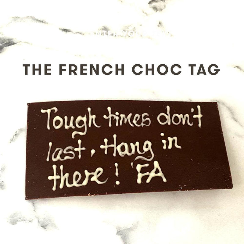 personalised message choc tag - Drips Bakery Café