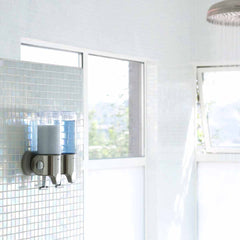 twin wall mount pump - lifestyle in shower