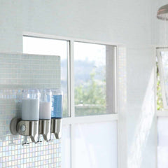 triple wall mount pump - lifestyle in shower