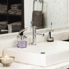 square push pump - lifestyle on bathroom sink