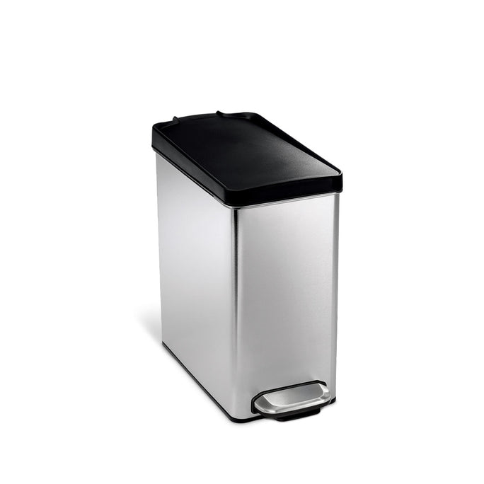10L profile step can - brushed finish with plastic lid - main image