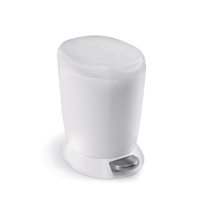 6L round plastic step can - white - main image