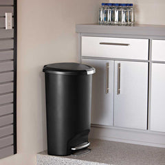 50L semi-round plastic step trash can - black - lifestyle in kitchen image